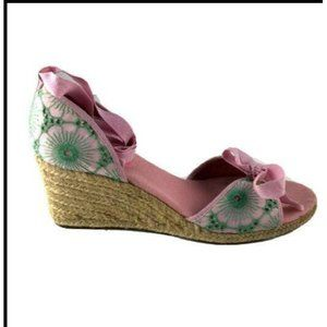 LILLY PULITZER Embroidered Espadrille Wedges 9.5M